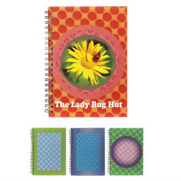 Item #80-44050 Spiral notebook with eye-catching 3D background, 80 unlined pages of paper.