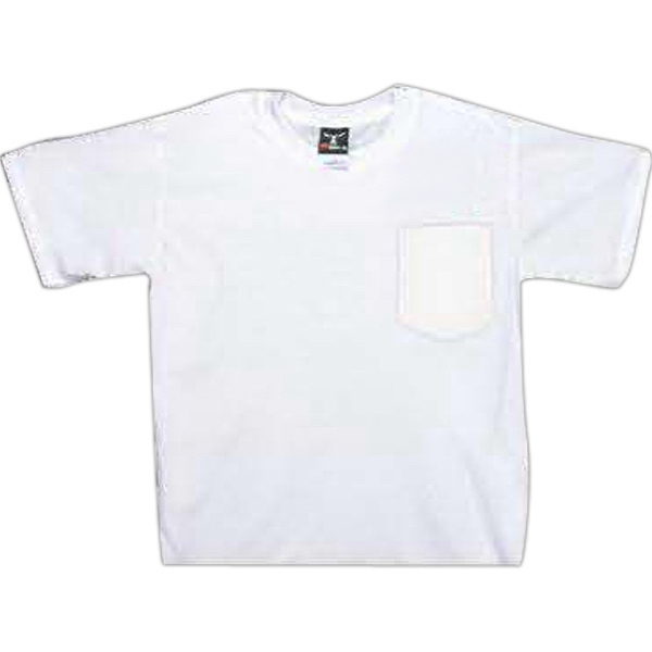 Item #AW262 White genuine Hanes pocket beefy tee