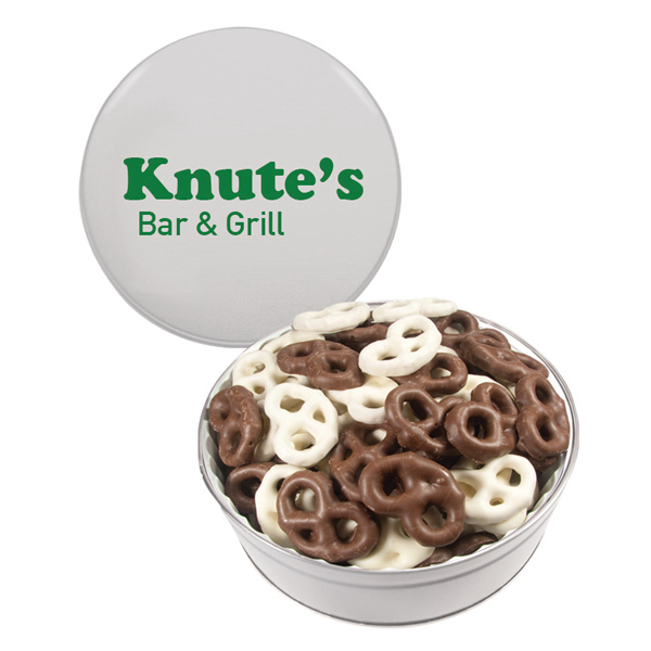 Item #GT2E-CHOCOLATE The Royal Tin with Chocolate Covered Mini Pretzels - White