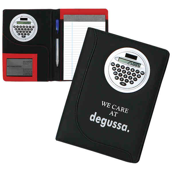 Item #PF128 Notebook with rotating solar calculator.