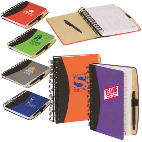 Item #PL-4103 Eco-Responsible (TM), Enviro-Jotter - Recycled cardboard cover jotter with double metal loop wire binding.