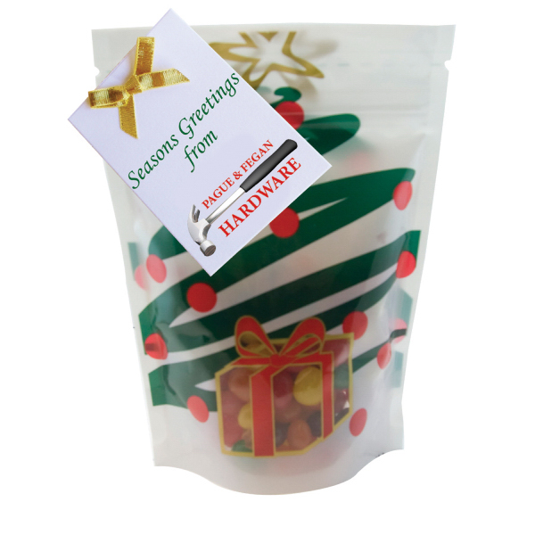 Item #WB2HT-JELLY Large Window Bag with Jelly Beans Candy - Holiday Tree
