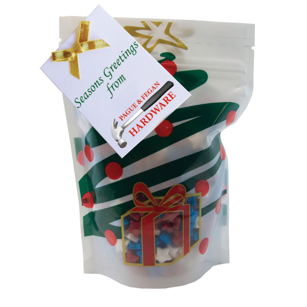Item #WB2HT-STARS Large Window Bag with Candy Stars - Holiday Tree