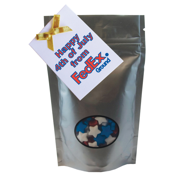Item #WB2S-STARS Large Window Bag with Candy Stars - Silver