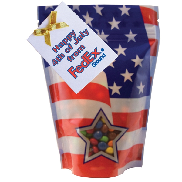 Item #WB2P-BAG Large Window Bag with Chocolate Littles Candy - Patriotic