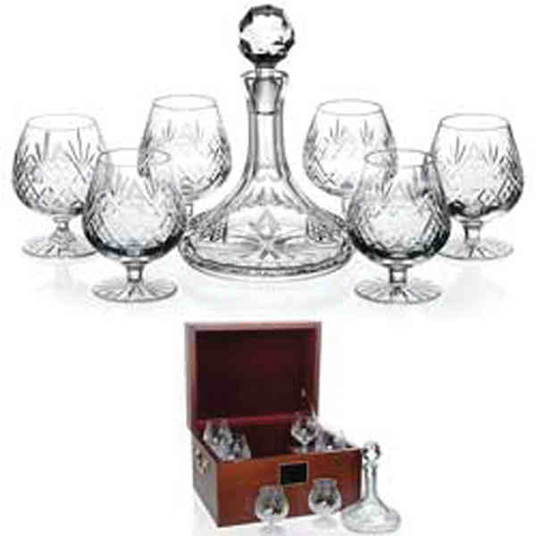 Item #35182 C.E.O. Award - 24% lead crystal snifter glasses and decanter in mahogany wood chest.