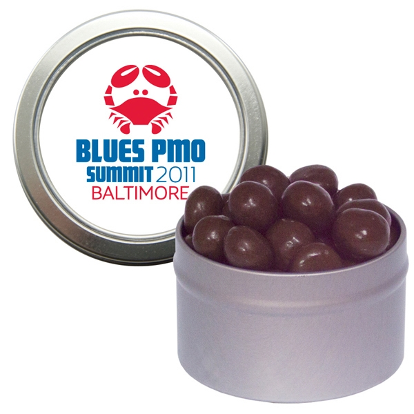 Item #CWT29-ESPRESSO Silver Candy Window Tin with Chocolate Espresso Beans