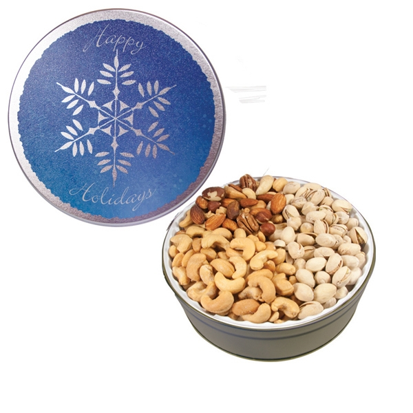 Item #GT1ASF-XMAS The Grand Tin w/Mixed Nuts, Pistachios & Cashews-Snowflake