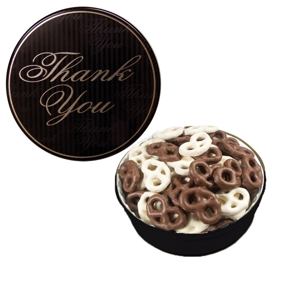 Item #GT1CTY-GIFTS The Grand Tin with Chocolate Covered Mini Pretzels-Thank You