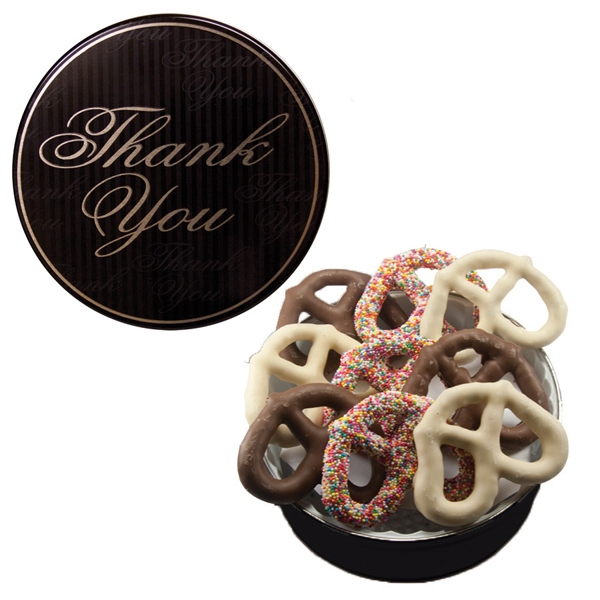 Item #GT1FTY-GIFTS The Grand Pretzel Tin - Thank You Design