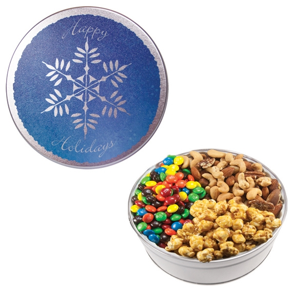 Item #GT2B-SF-SNOW Royal Tin w/Candy-Coated Chocolate, Nuts & Caramel Popcorn