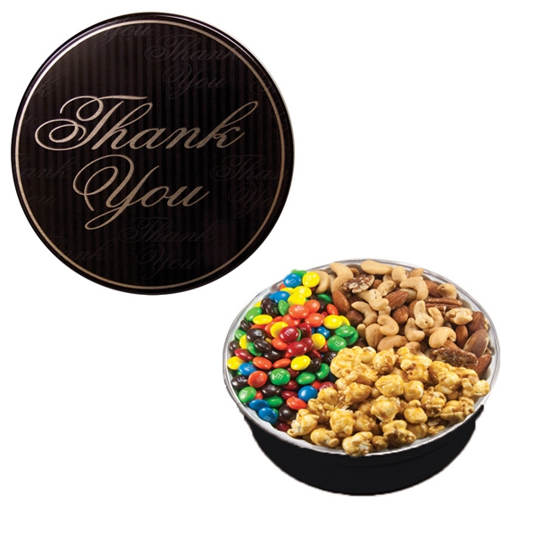 Item #GT2B-TY-NUTS Royal Tin w/Candy-Coated Chocolate, Nuts & Caramel Popcorn