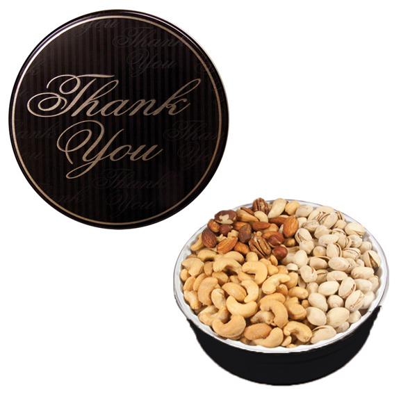 Item #GT2CTY-DESIGN The Royal Tin with Mixed Nuts - Thank You Design