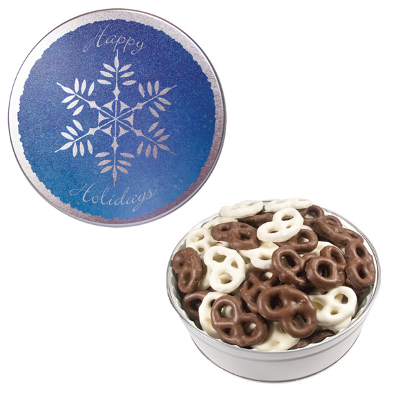 Item #GT2E-SF-XMAS The Royal Tin with Chocolate Covered Mini Pretzels-Snowflake