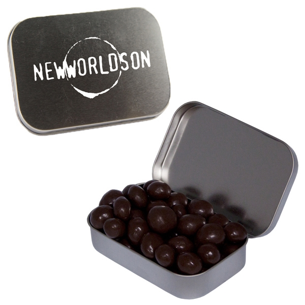 Item #LT01-ESPRESSO Large Silver Tin with Chocolate Espresso Beans Candy