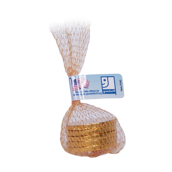 Item #MESH-BAG-COINS Mesh Bag with Chocolate Coins Candy