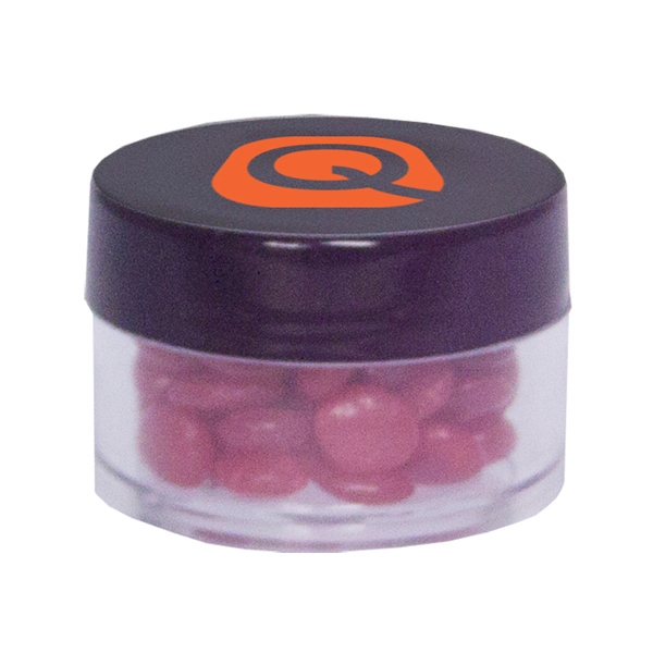 Item #TWIST-RED HOTS Twist Top Container Filled With Cinnamon Red Hots Candy