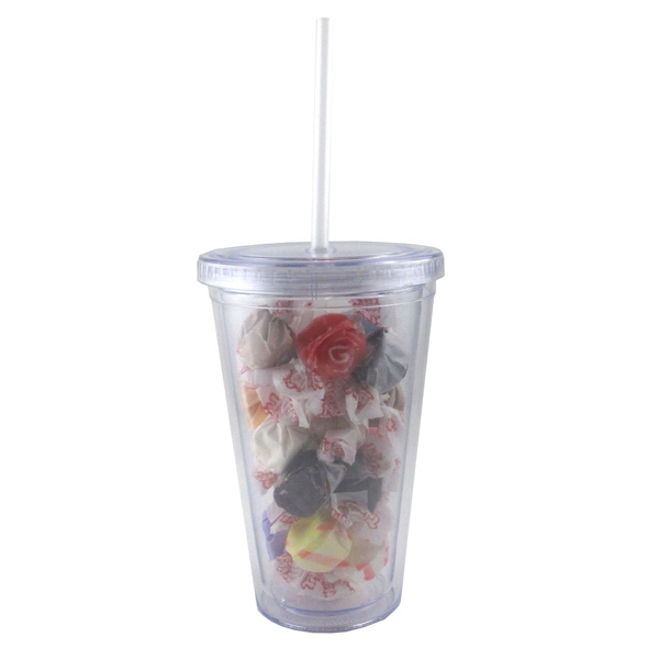 Item #TUMB-SWT Clear Acrylic Tumbler Drinkware with Salt Water Taffy
