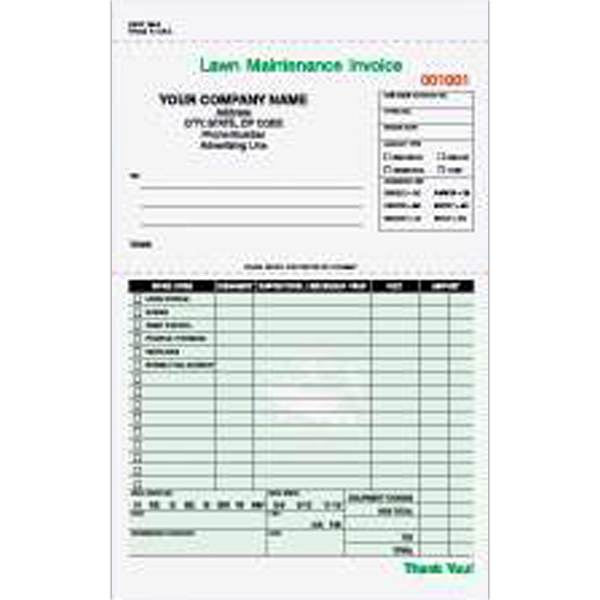 Lawn Maintenance Invoice Form Item LMCC ImprintItems - Lawn care invoice template