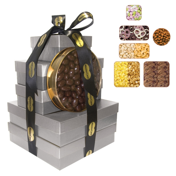 Item #TB5A-TOWER The Imperial Gift Box Tower - Popcorn, Pretzels, Cookies