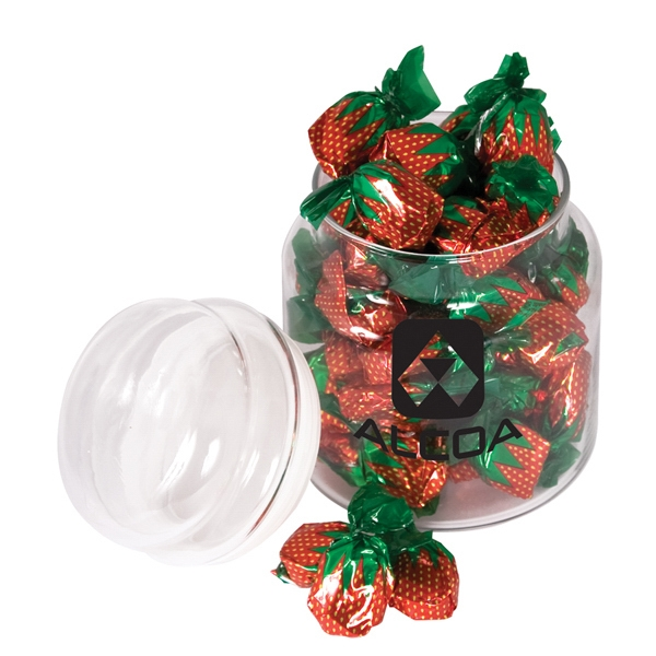 Item #MTS Round glass candy jar filled with delicious favorites