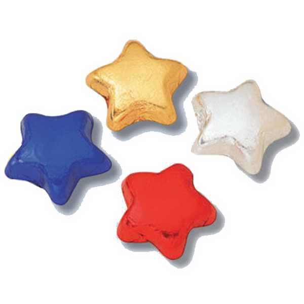 Item #Foiled Stars Wrapped Foil Milk Chocolate Stars