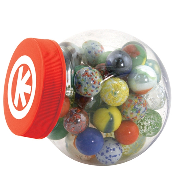 Item #AD-435 Glass marbles game set with storage canister