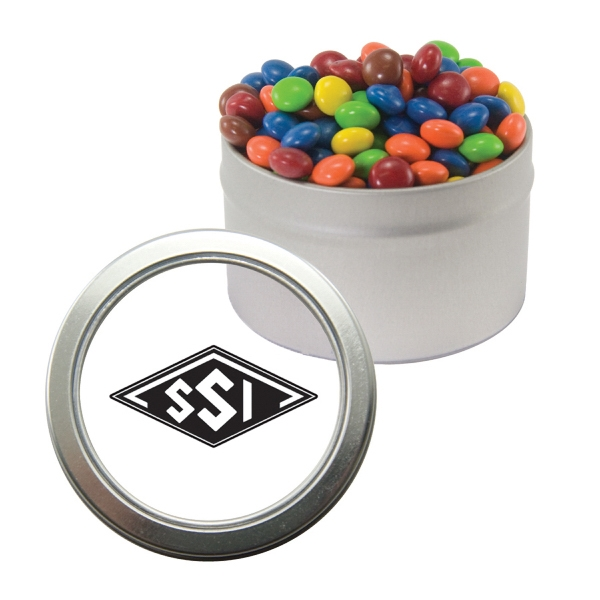 Item #CWT29-CANDY Silver Candy Window Tin with Chocolate Littles