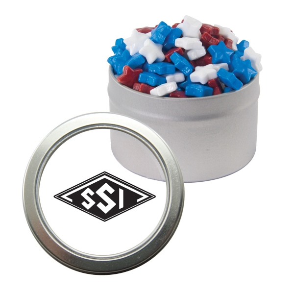 Item #CWT29-STARS Silver Candy Window Tin with Candy Stars