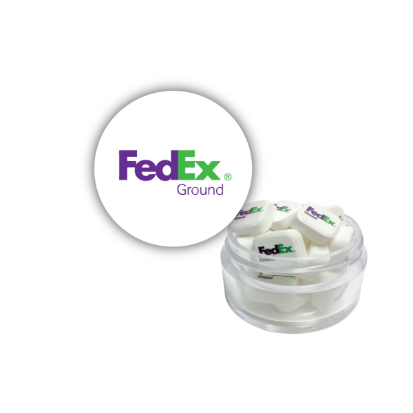Item #TWIST-MINTS-PM Twist Top Container White Cap filled with Printed Mints