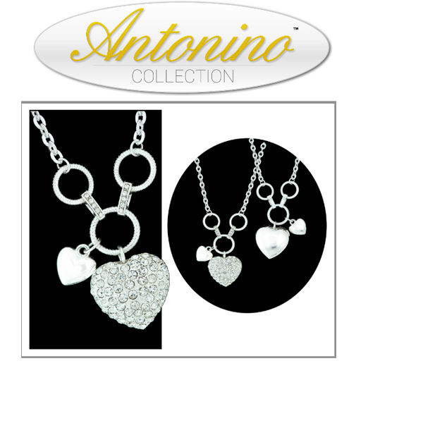 Item #NY SRHCN16IN Sparkling Crystal Heart Charm Necklace