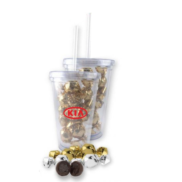 Item #TUMB-TWT Twist-Wrapped Truffles In A 16 oz. Clear Acrylic Tumbler
