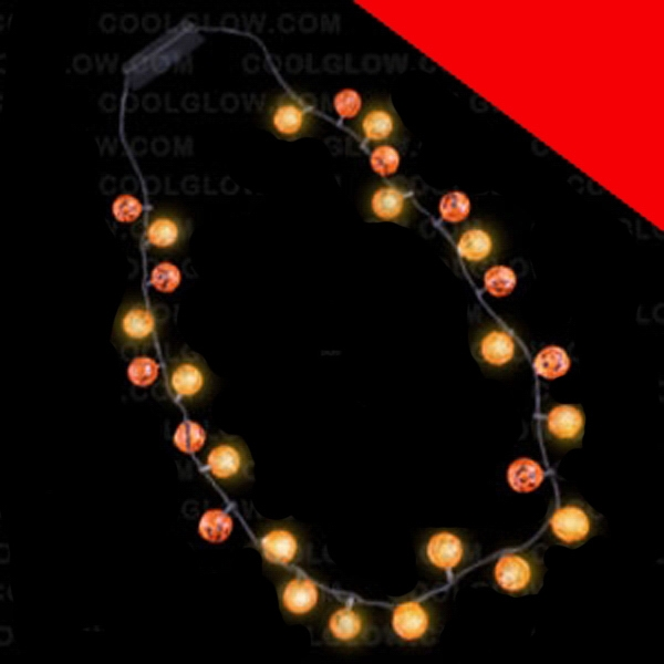 Item #G507 LED Pumpkins Necklace - 34 Inch Light Up