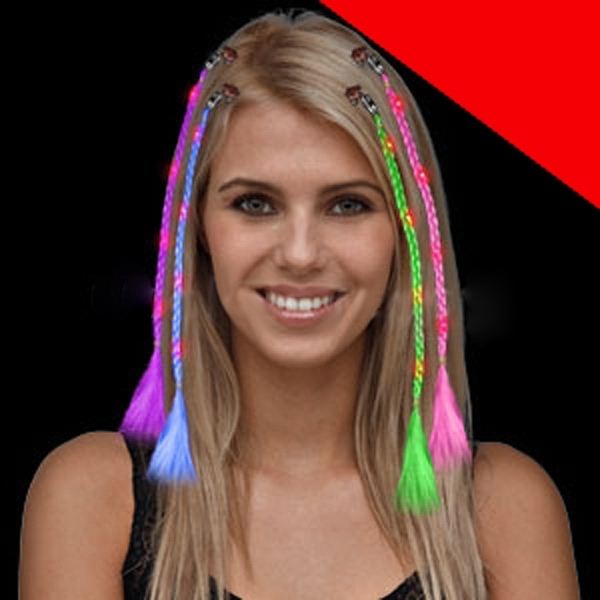 Item #O043 LED Braided Hair Extensions - Assorted Light Up