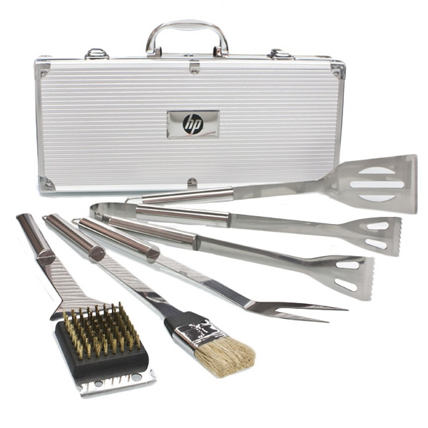 Item #BBQ56 Deluxe 5 pc Stainless Steel BBQ Tool Set