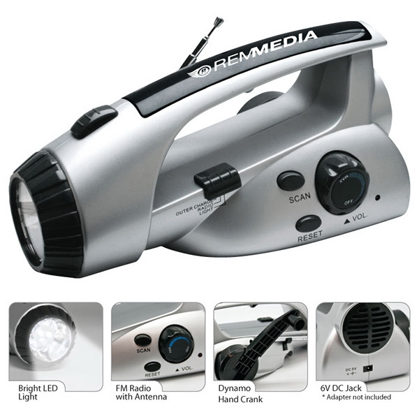 Item #RD312 LED Dynamo Flashlight Radio