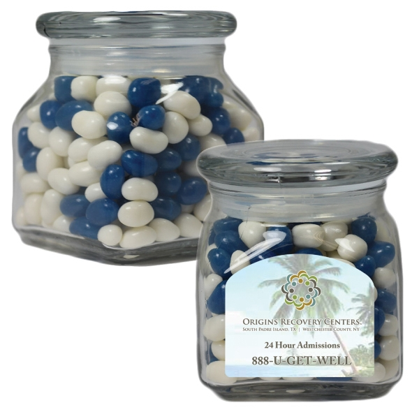 Item #SSCJ10-CJB-JAR Small Glass Apothecary Jar with Corporate Jelly Beans Candy