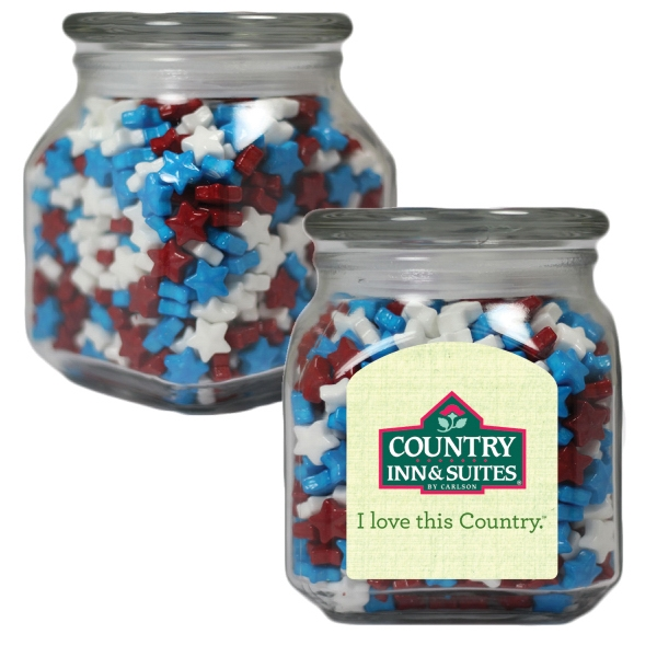 Item #SSCJ10-ST-JAR Small Glass Apothecary Jar with Candy Stars