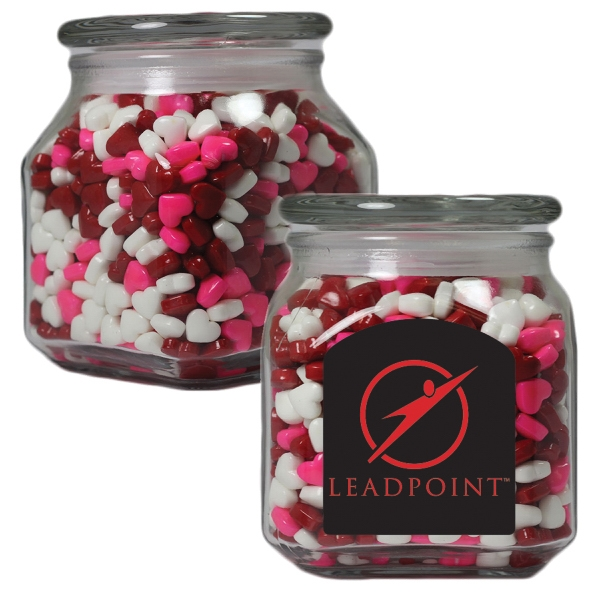Item #MSCJ20-HRT-JAR Medium Glass Apothecary Jar with Candy Hearts