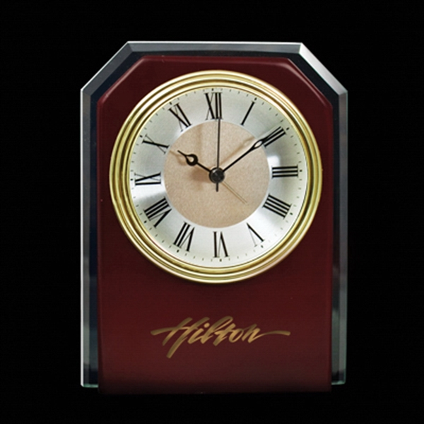 Item #CY-1171 Wood Clock With Glass Trim