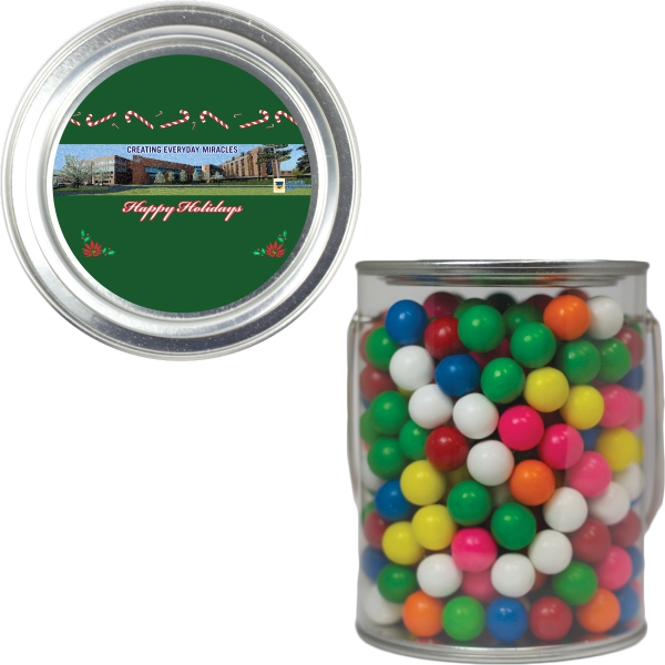 Item #PAINT-GUMBALLS Clear Plastic Paint Can Pail with Gumballs