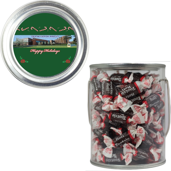 Item #PAINT-TOOTSIE Clear Plastic Paint Can Pail with Tootsie Rolls Chocolate
