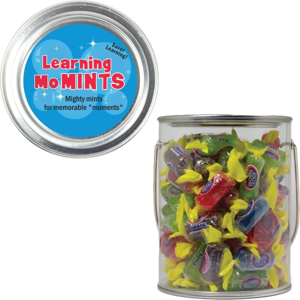 Item #PAINT-JOLLY Clear Plastic Paint Can Pail with Jolly Ranchers Candy