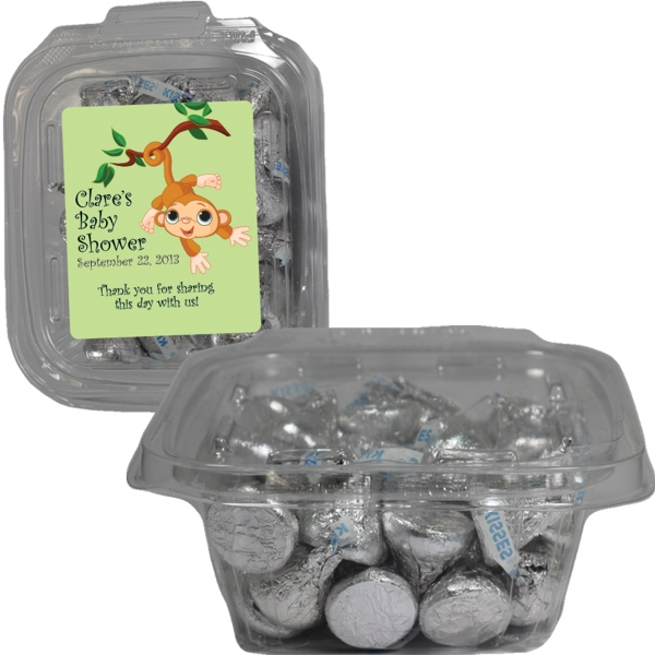 Item #SAFETSQ-KISS Square Safe-T Fresh Container With Hershey Kisses Chocolates