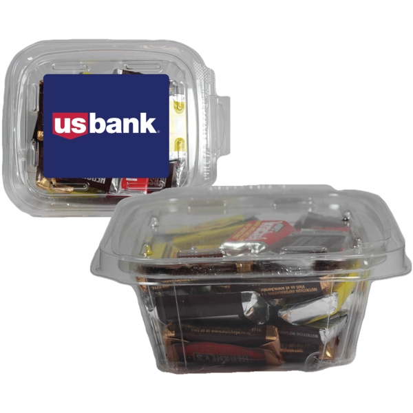 Item #SAFETSQ-BAR Square Safe-T Fresh Container With Hershey Miniature Bars