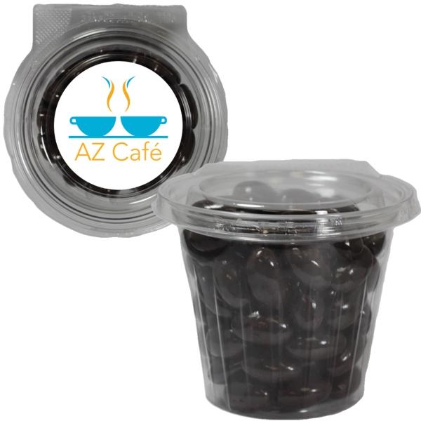 Item #SAFETRO-ALMOND Round Safe-T Fresh Container With Chocolate Almonds Nuts